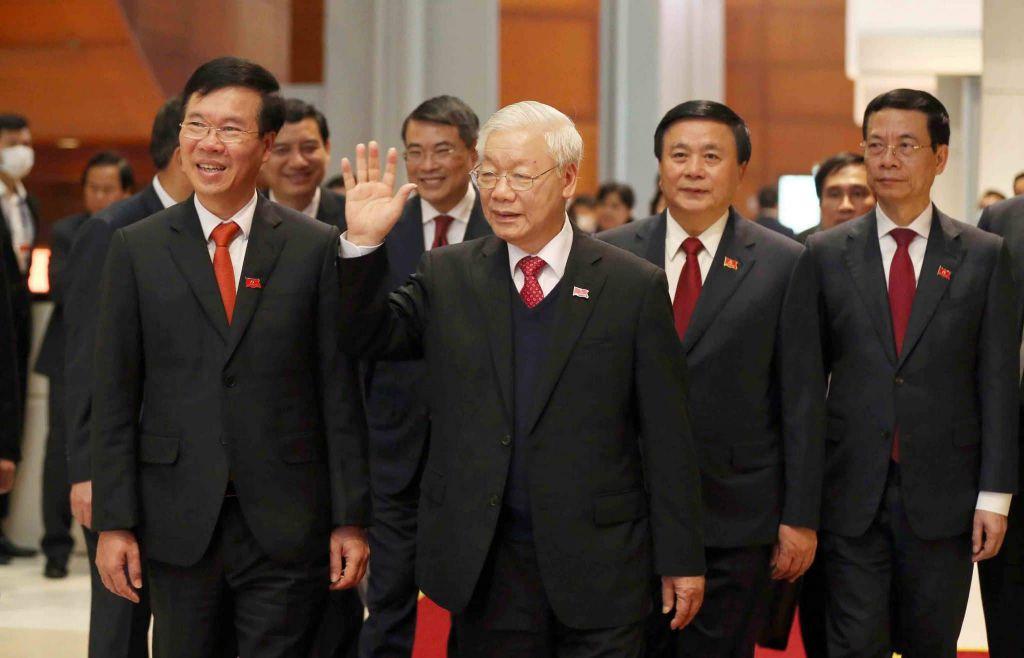 Tổng Bí thư Nguyễn Phú Trọng cùng một số lãnh đạo tại Đại hội XIII của Đảng